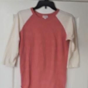 LuLaRoe Randy Pink & Cream Shirt - Small